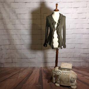 NEW Cupio Ruffle Sweater Cardigan in Olive Green